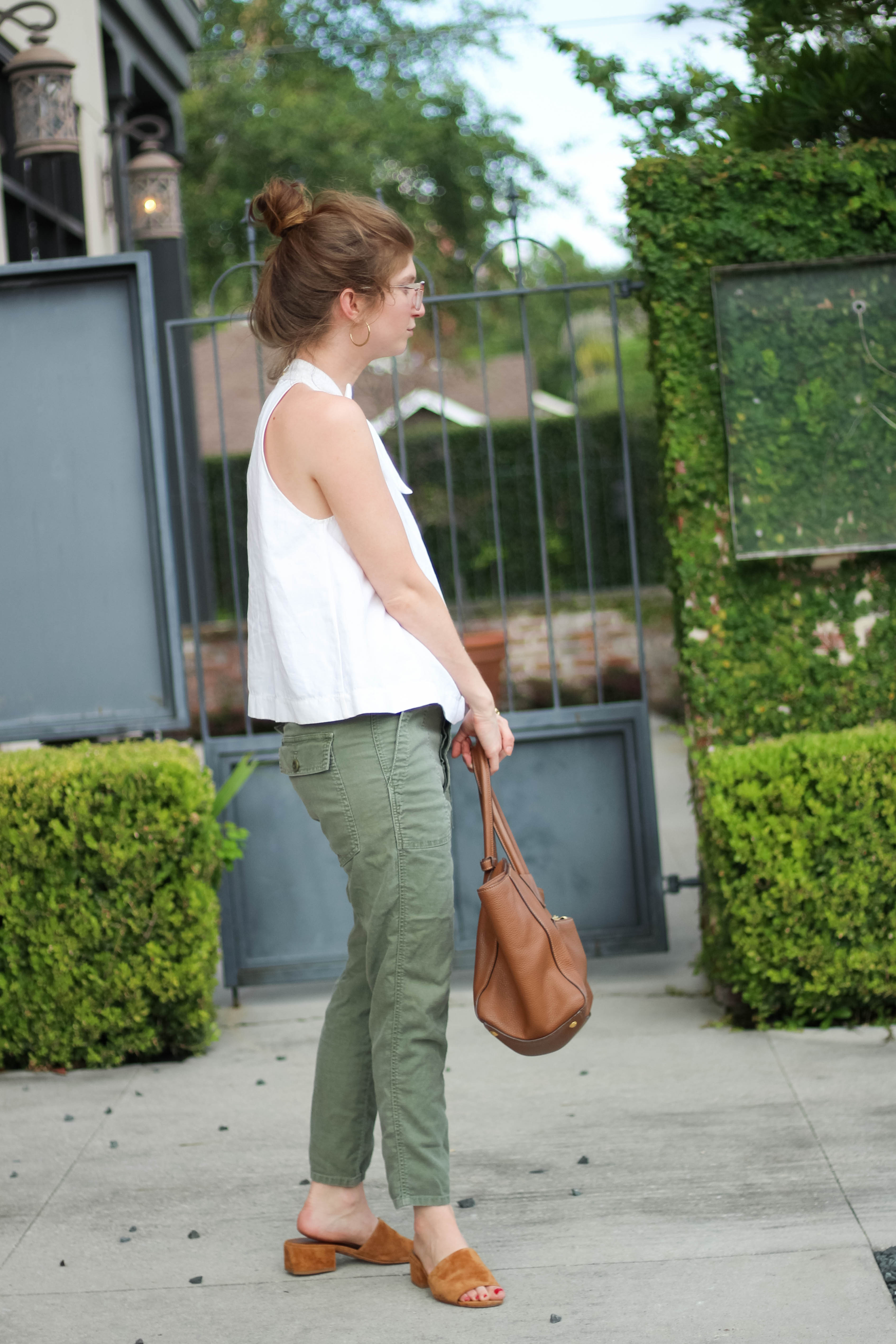 outfit: Green + Camel