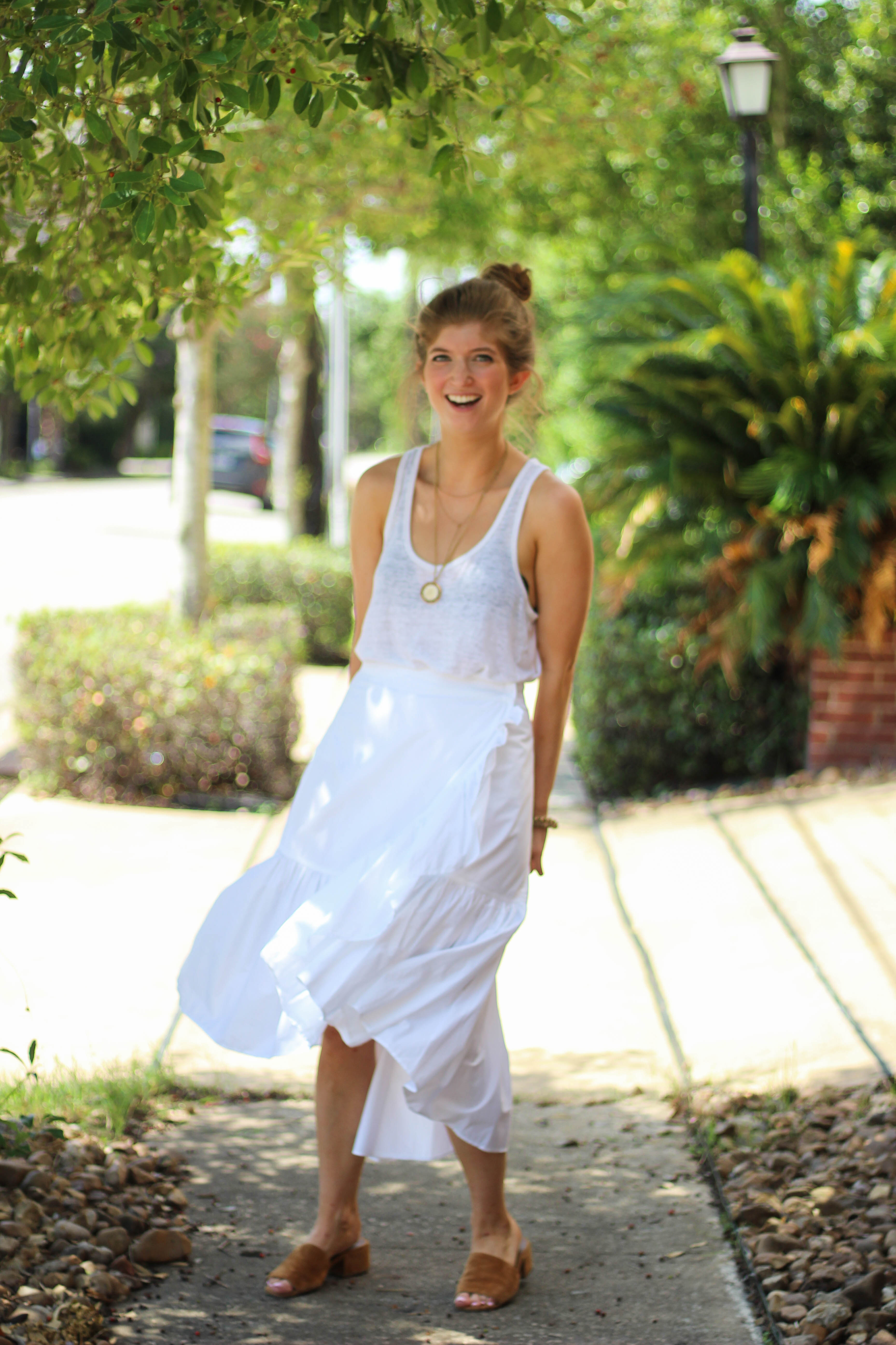 ruffle wrap skirt, ulla Johnson skirt, all white outfit