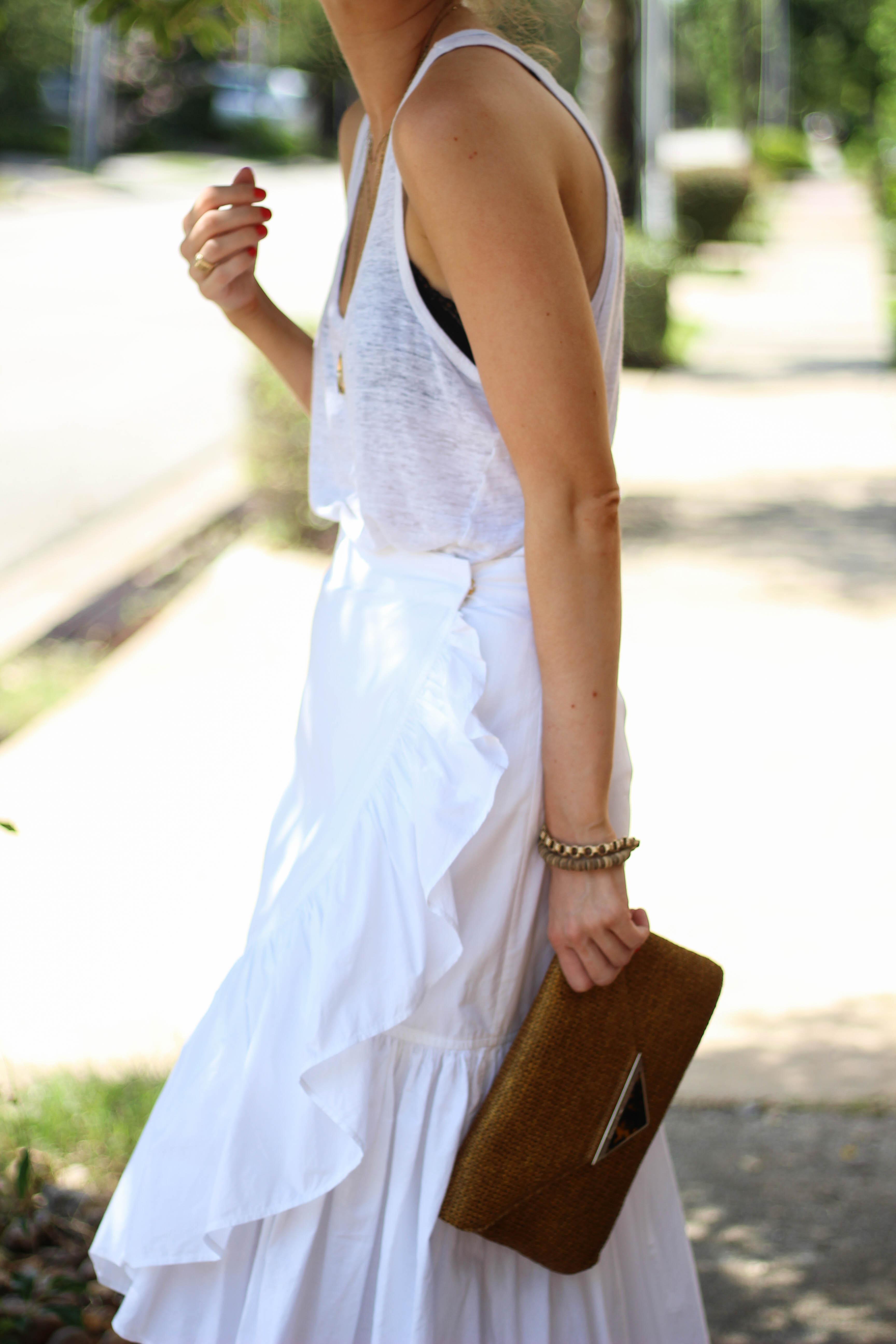 ruffle wrap skirt, ulla Johnson skirt, all white outfit, white tank with black bra