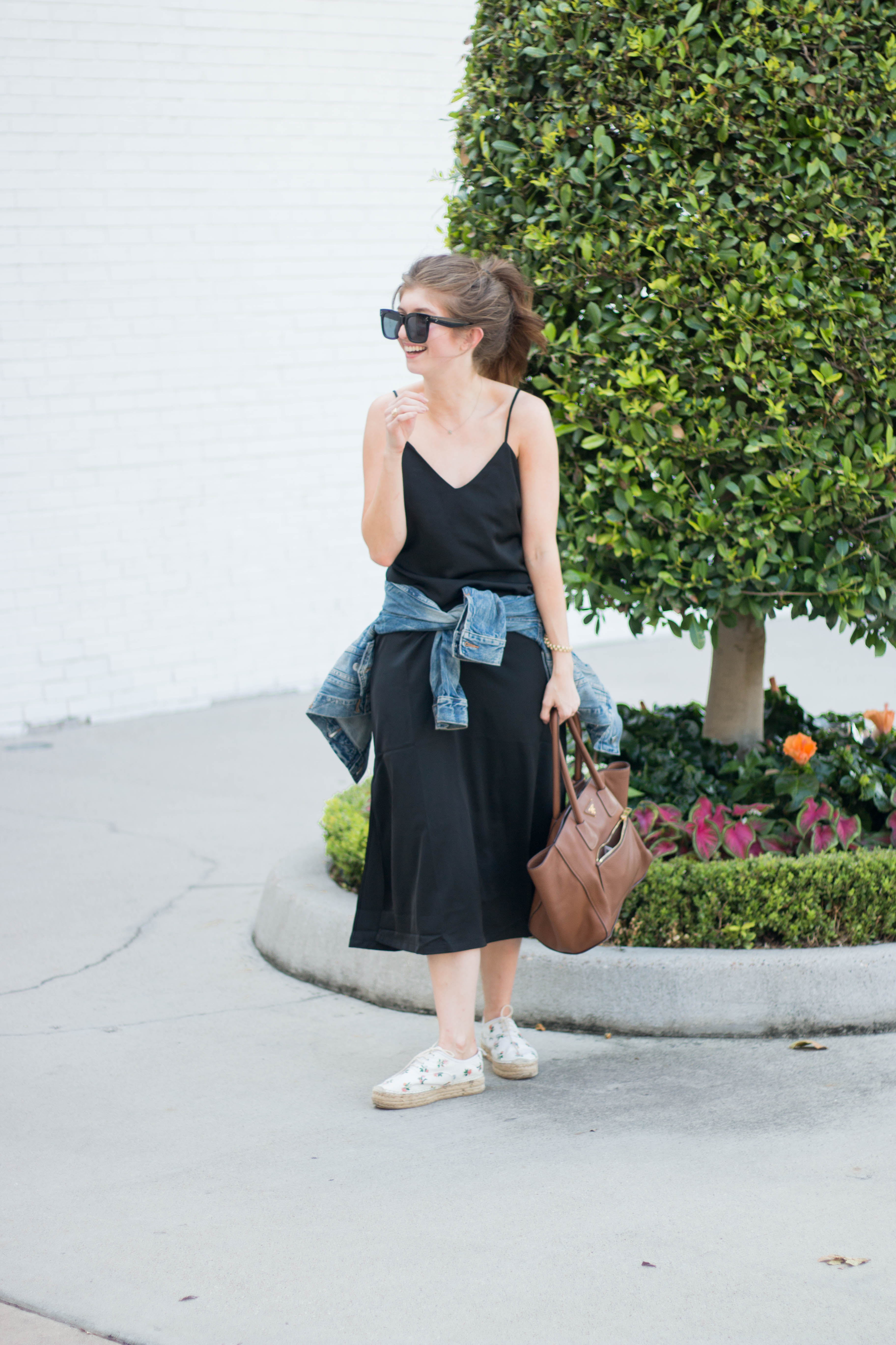 black slip dress - slip dress with denim jacket