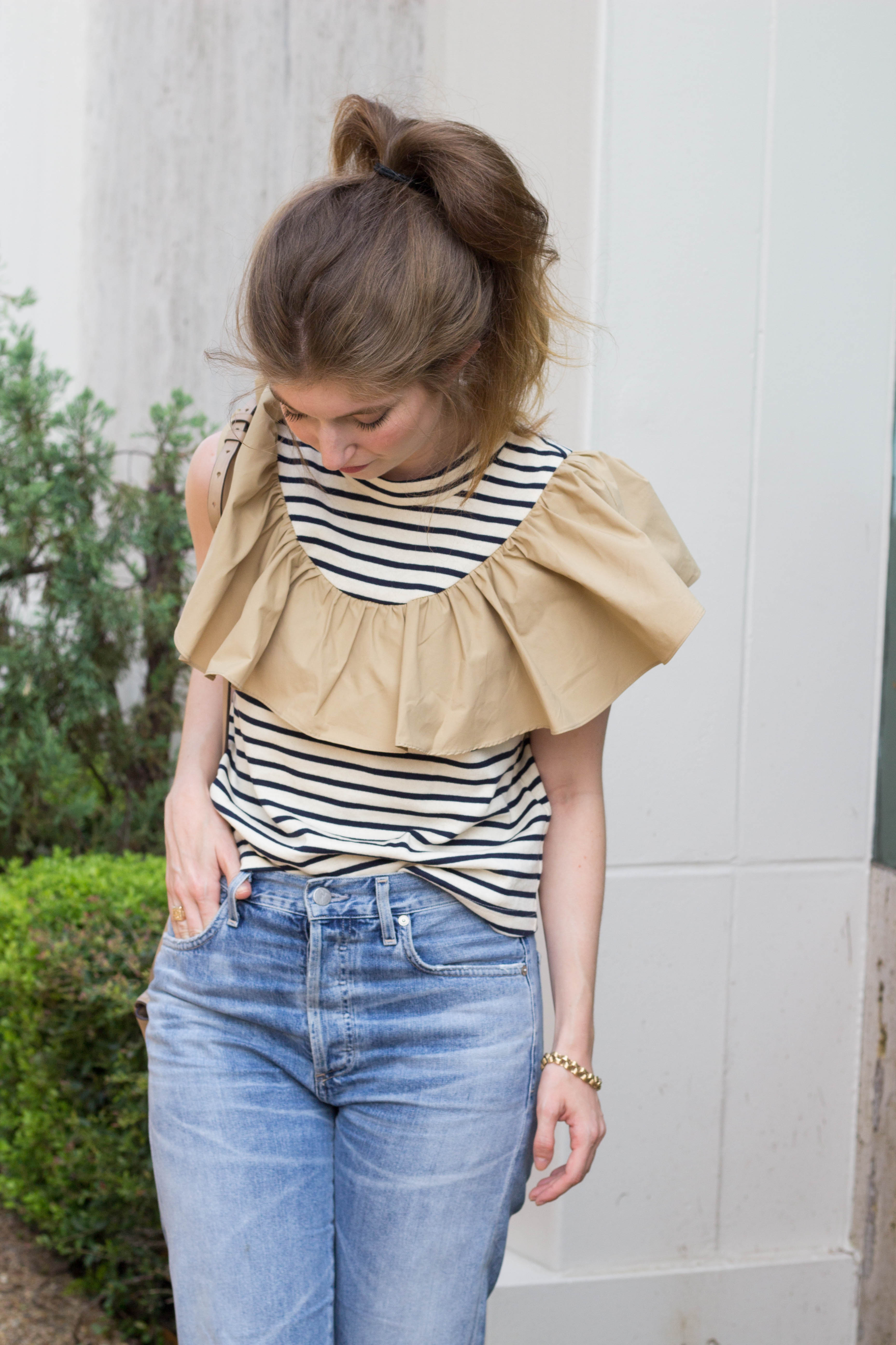 sea ruffle top, sea top, citizen of humanity jeans