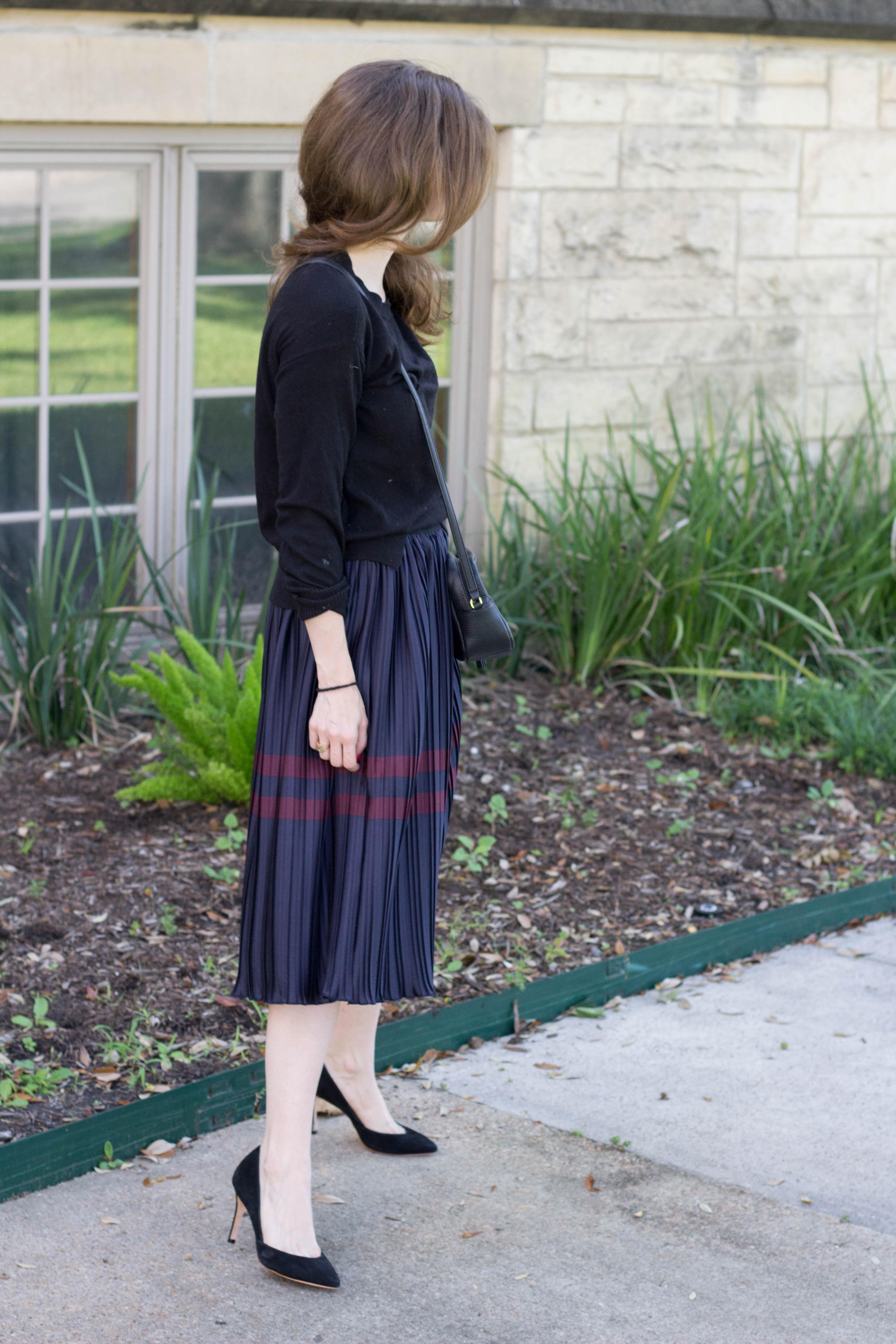 pleated midi skirt for work