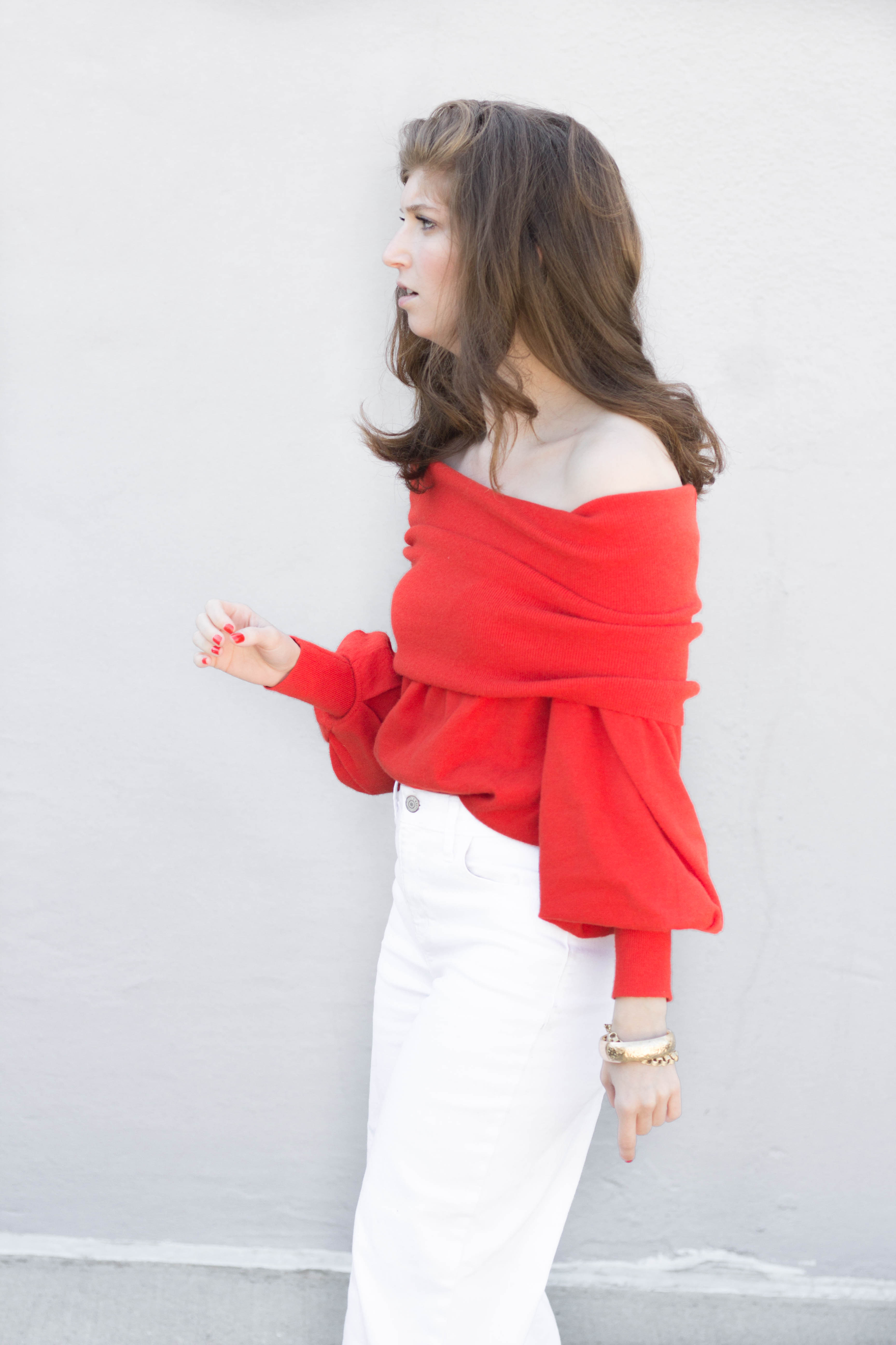 red off the shoulder sweater (1 of 1)