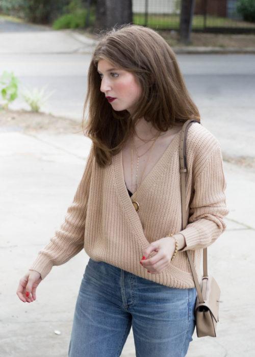 minkpink sweater, mink pink criss cross sweater, criss cross sweater, how to style criss cross sweater