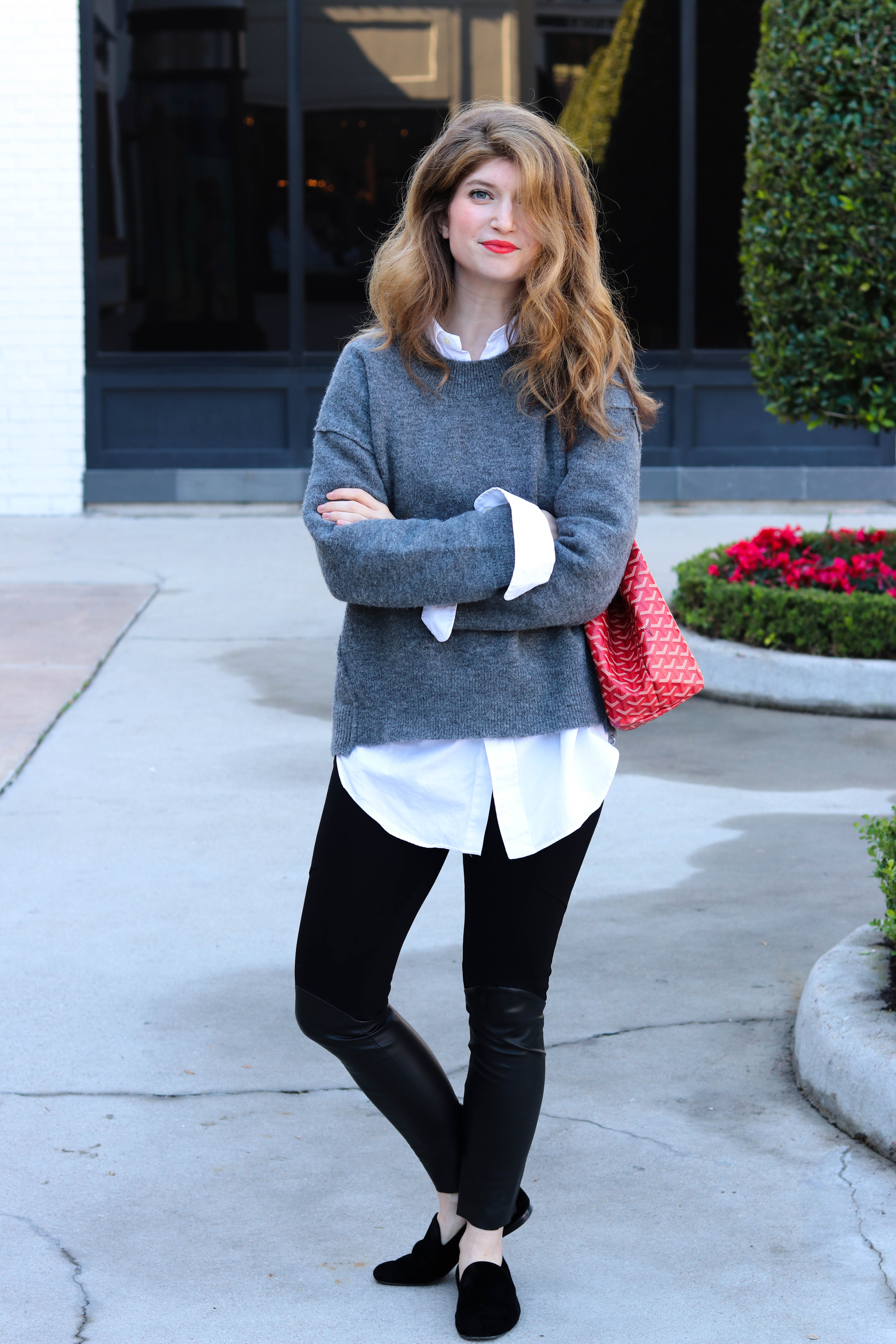 layered sweater with Oxford, leather leggings, madewell sweater, layered sweater