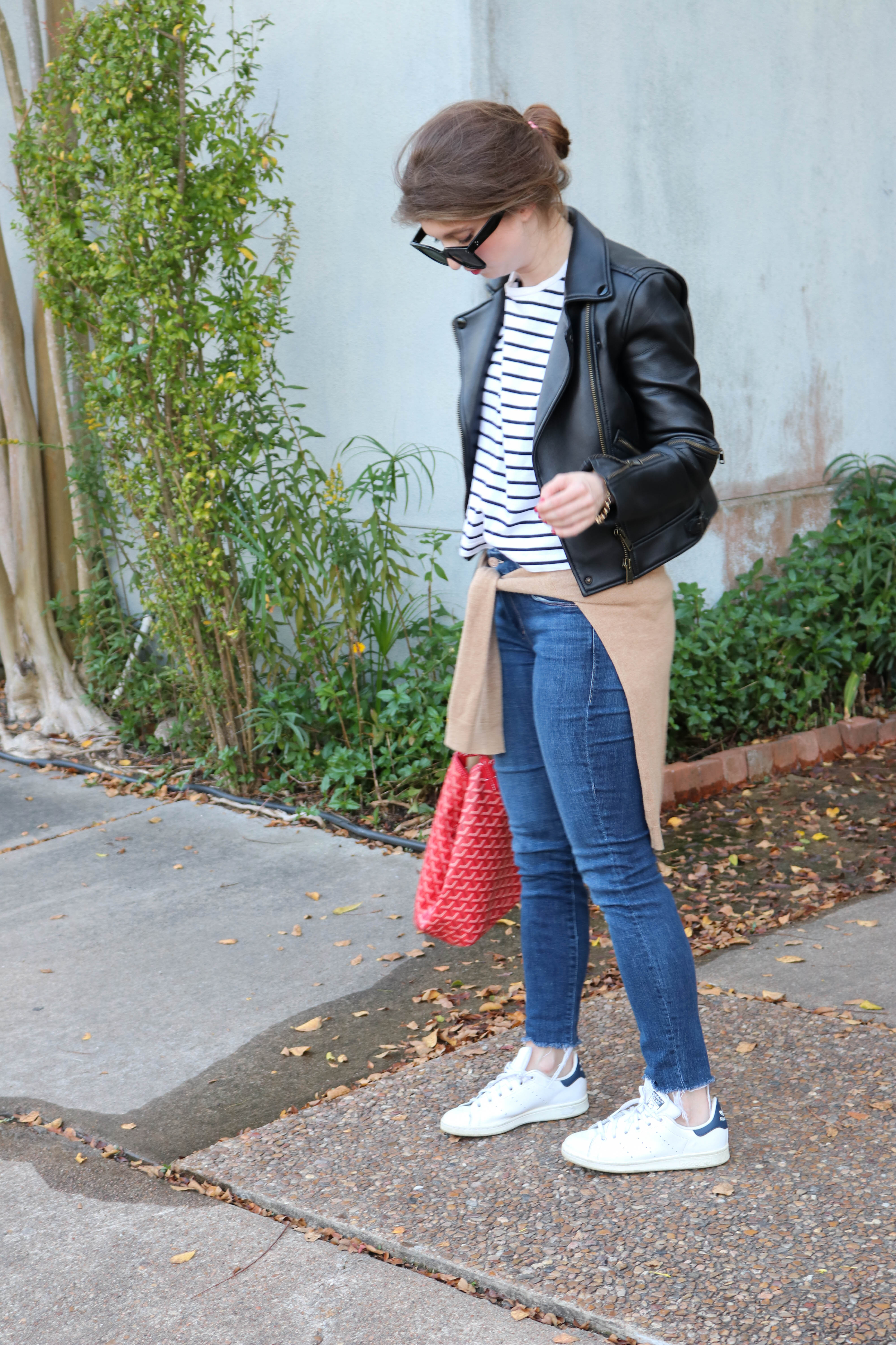 Light Layers with Leather Jacket