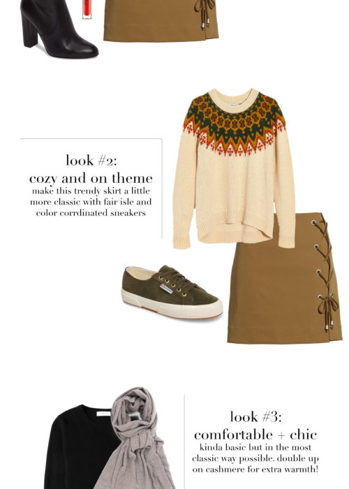 1 skirt 3 ways, 1 skirt styled 3 ways, how to wear 1 skirt 3 ways