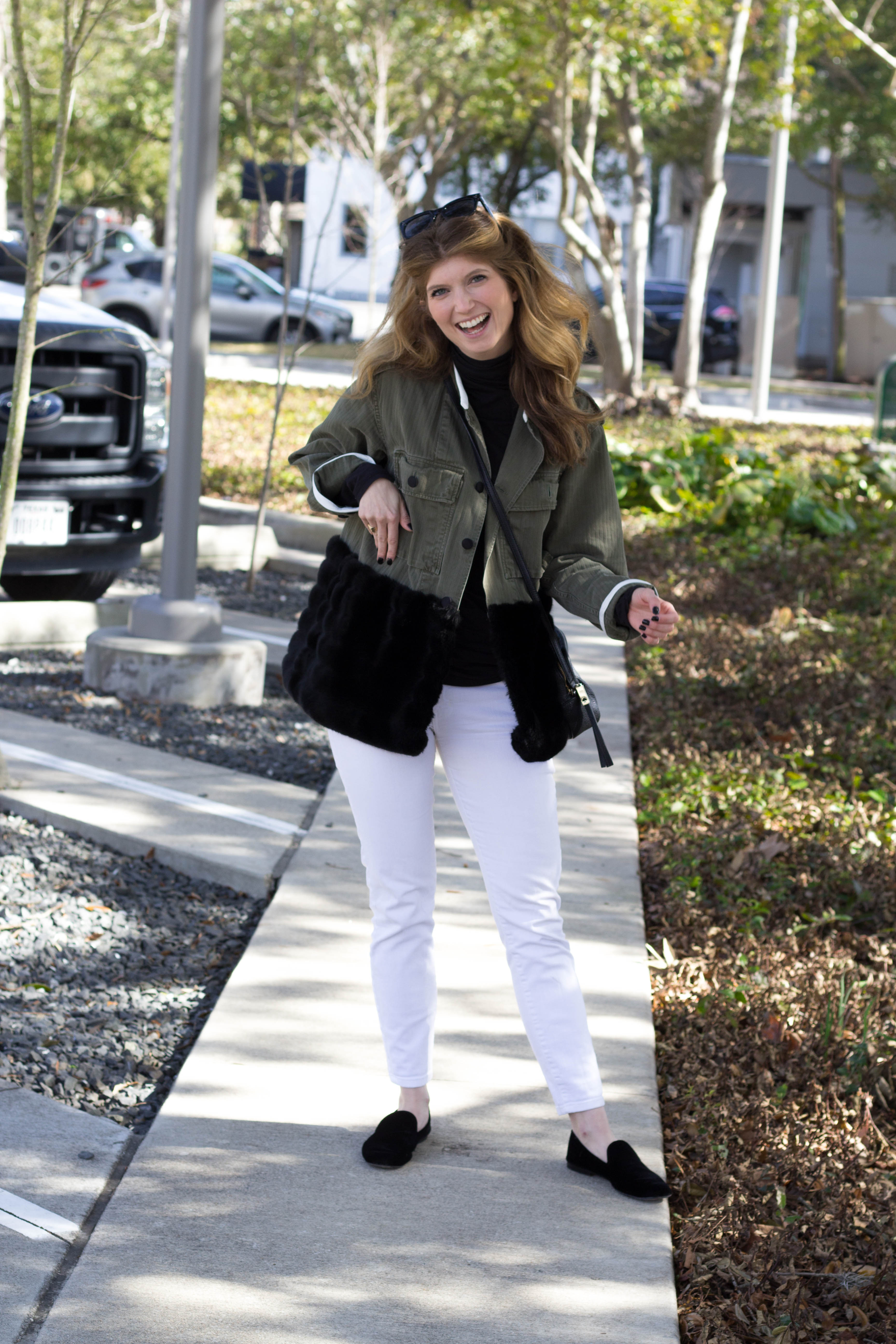 Harvey faircloth jacket, white jeans in the winter, how to style white jeans in winter