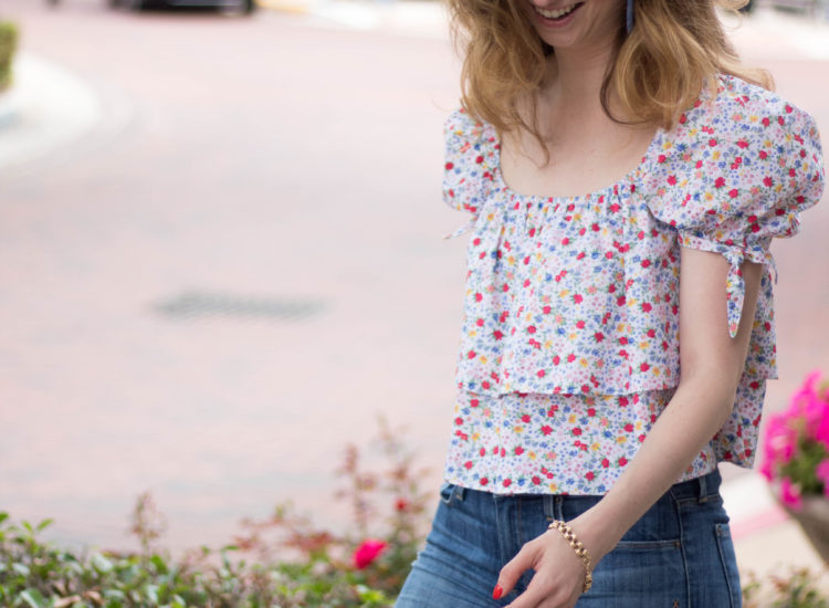 puff sleeve floral top, floral top, likely top, shopbop