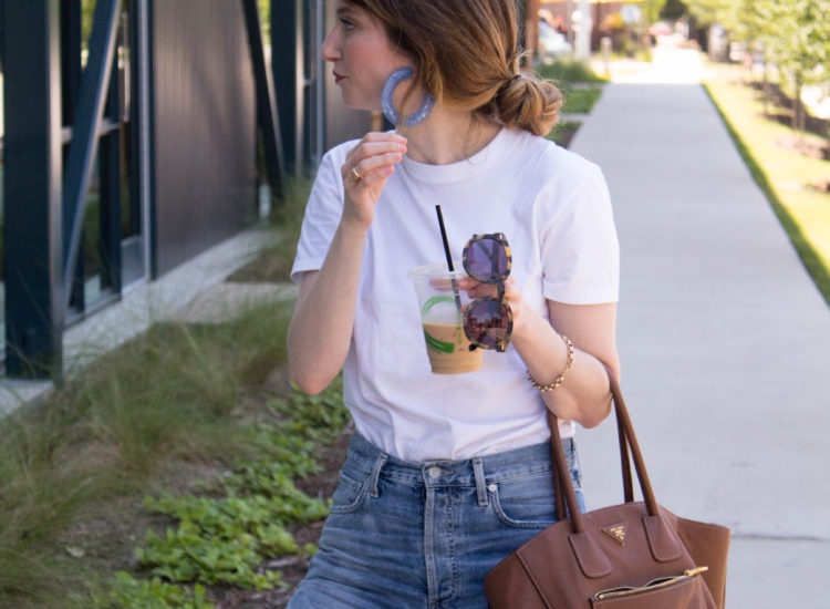 citizen of humanity jeans, Hanes tee outfit, cult Gaia earrings
