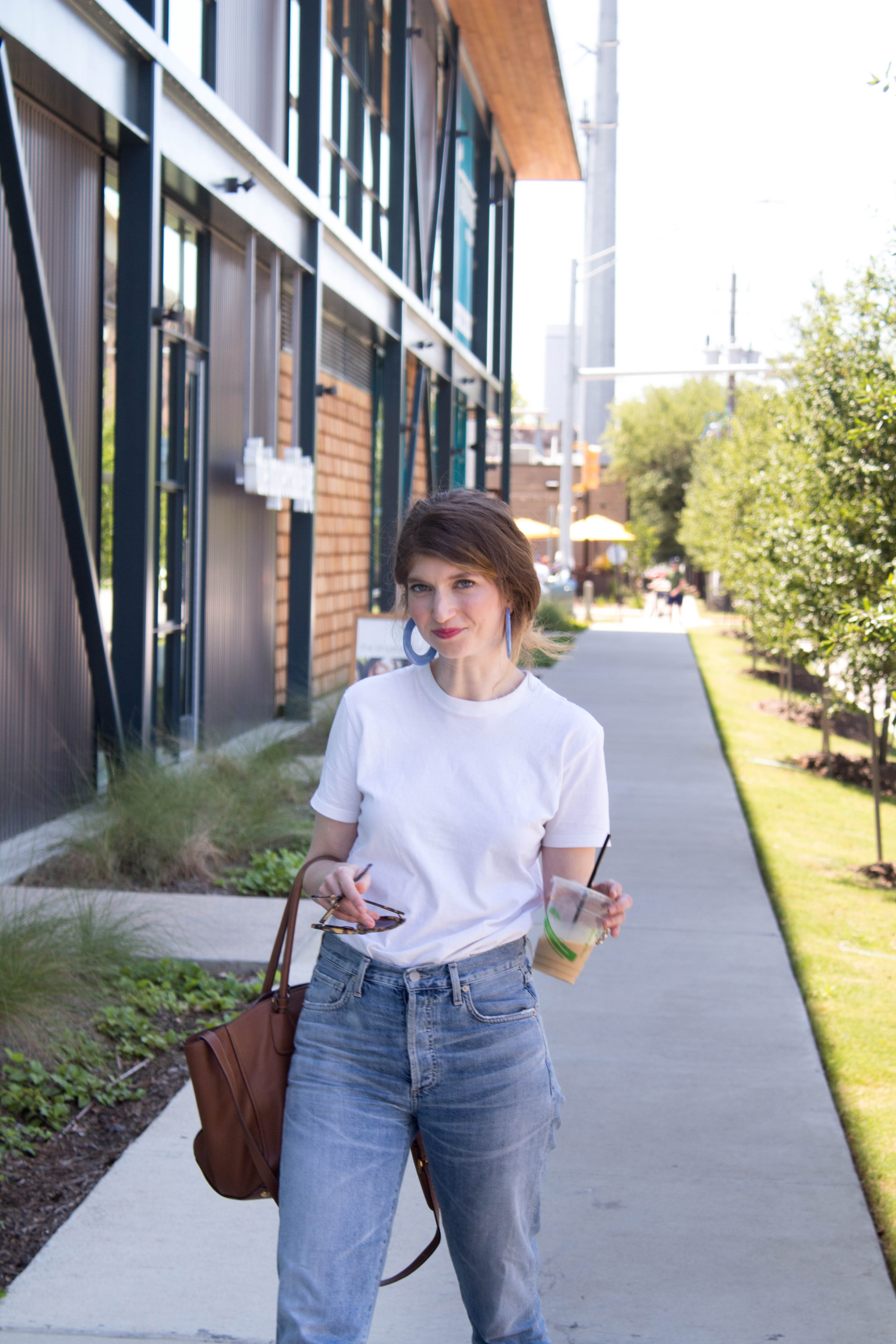 citizen of humanity jeans, Hanes tee outfit, cult Gaia earrings, spring basics
