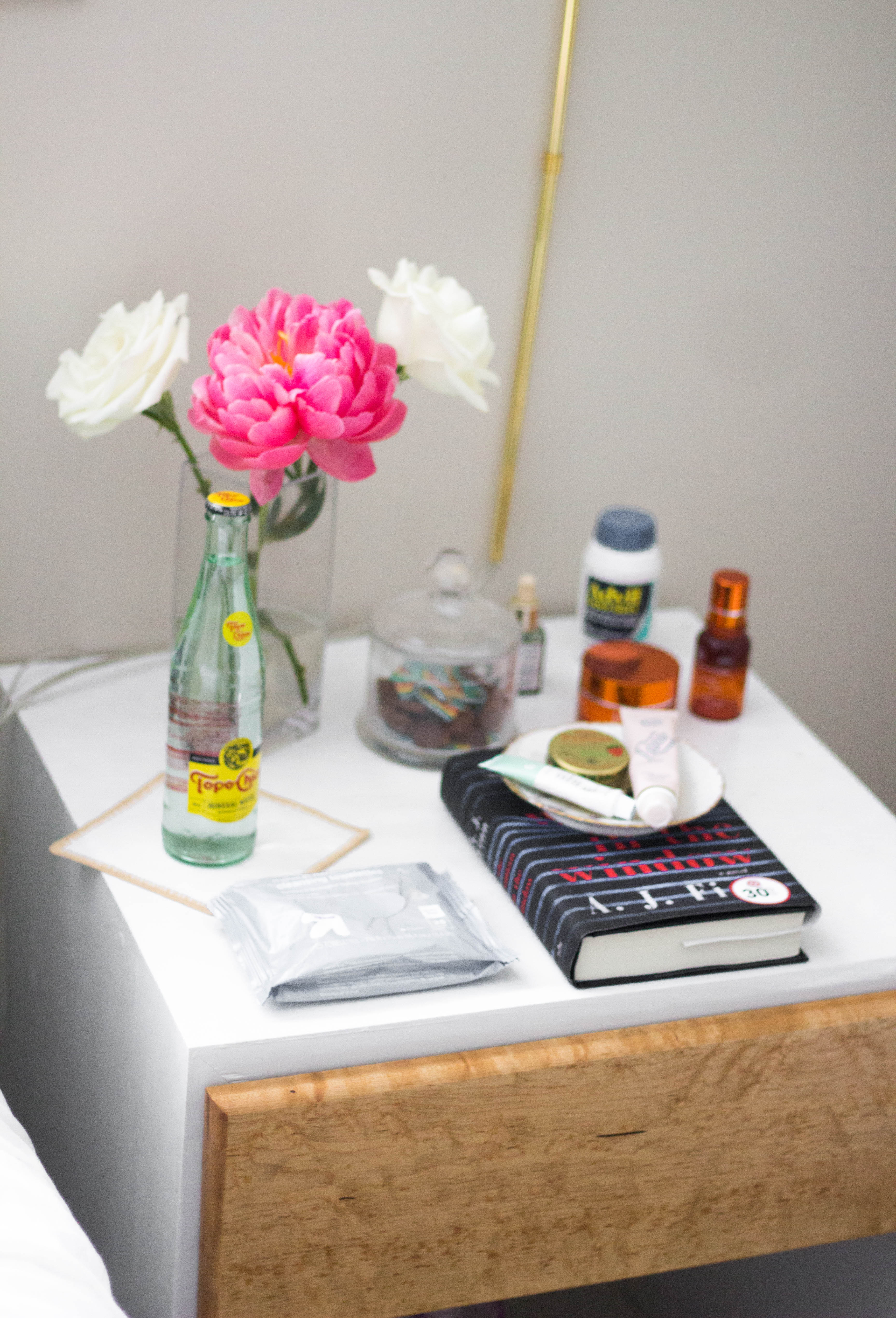 bedside table styling, bedside table, how to style bedside table