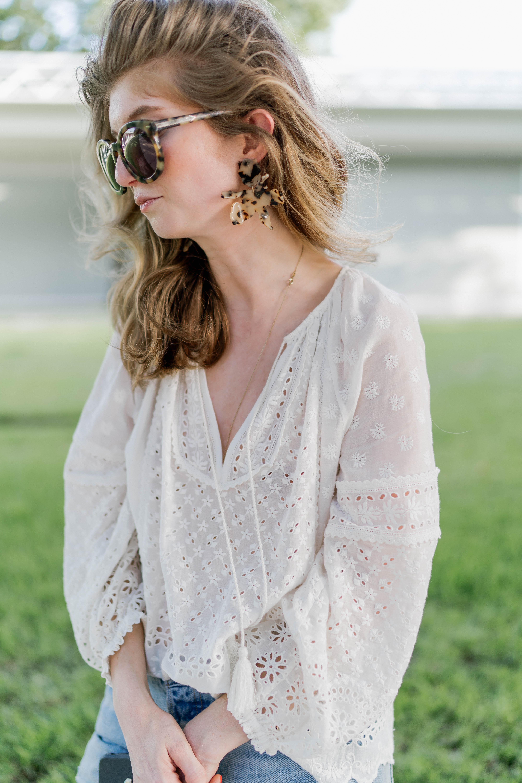 Ulla Johnson white top, Levi jeans, Lele sedoughi earrings