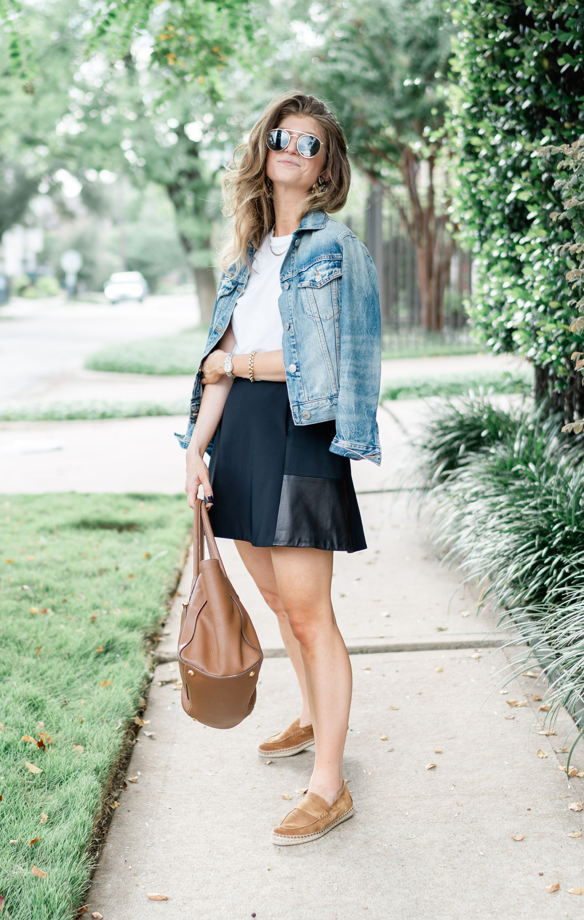 denim jacket outfit, transitional fall outfit, rag and bone mini skirt