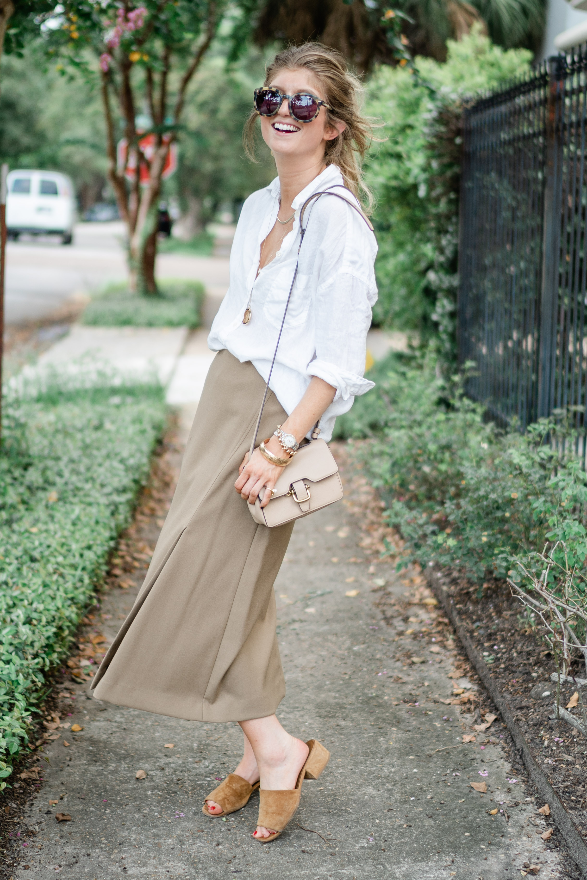 linen shirt with midi skirt, theory midi skirt, transitional fall outfit