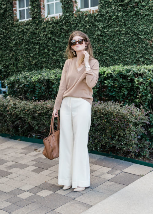 ivory pants, ivory and camel outfit, white and camel outfit, camel cashmere sweater
